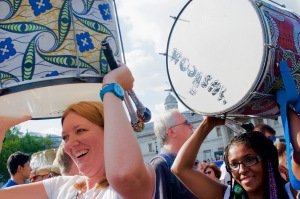 Carnival Bloc in the way to the stage, Trafalgar Square, London, August 08 2015, by Ronise Nepomuceno