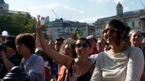 Public enjoying Brasil Day, in Trafalgar Square, London, August 08 2015, by Ronise Nepomuceno